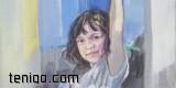 Laura La Wasilewska, Błękitny uśmiech-olej na płótnie-24x24-2012 7709